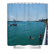 St. Clair River Boardwalk Shower Curtain