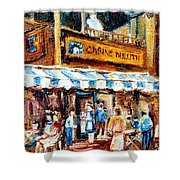 St. Denis And Prince Arthur Montreal Cafe Scene Shower Curtain