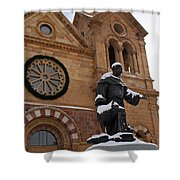 St Francis Cathedral In Santa Fe - Winter Shower Curtain