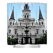 St Louis Cathedral And Fountain Jackson Square French Quarter New Orleans Accented Edges Digital Art Shower Curtain
