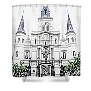 St Louis Cathedral And Fountain Jackson Square French Quarter New Orleans Colored Pencil Digital Art Shower Curtain