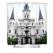 St Louis Cathedral And Fountain Jackson Square French Quarter New Orleans Diffuse Glow Digital Art Shower Curtain
