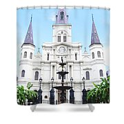 St Louis Cathedral And Fountain Jackson Square French Quarter New Orleans Film Grain Digital Art Shower Curtain