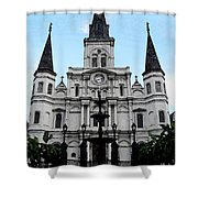 St Louis Cathedral And Fountain Jackson Square French Quarter New Orleans Fresco Digital Art Shower Curtain