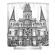 St Louis Cathedral And Fountain Jackson Square French Quarter New Orleans Photocopy Digital Art Shower Curtain