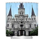 St Louis Cathedral And Fountain Jackson Square French Quarter New Orleans Poster Edges Digital Art Shower Curtain