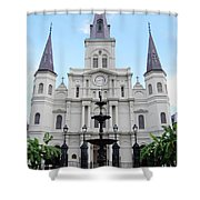 St Louis Cathedral And Fountain Jackson Square French Quarter New Orleans  Shower Curtain