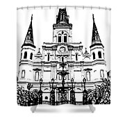 St Louis Cathedral And Fountain Jackson Square French Quarter New Orleans Stamp Digital Art Shower Curtain