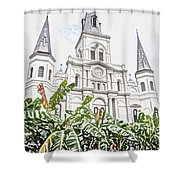 St Louis Cathedral Rising Above Palms Jackson Square New Orleans Colored Pencil Digital Art Shower Curtain