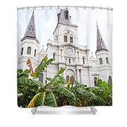 St Louis Cathedral Rising Above Palms Jackson Square New Orleans Diffuse Glow Digital Art Shower Curtain