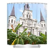 St Louis Cathedral Rising Above Palms Jackson Square New Orleans Film Grain Digital Art Shower Curtain