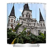 St Louis Cathedral Rising Above Palms Jackson Square New Orleans Fresco Digital Art Shower Curtain