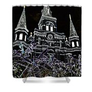 St Louis Cathedral Rising Above Palms Jackson Square New Orleans Glowing Edges Digital Art Shower Curtain
