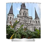 St Louis Cathedral Rising Above Palms Jackson Square New Orleans Poster Edges Digital Art Shower Curtain