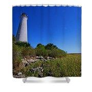St Marks Lighthouse Along The Gulf Coastst Shower Curtain
