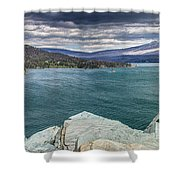 St. Mary Lake Under Stormy Skies Shower Curtain