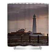 St Marys Lighthouse After Sunrise Shower Curtain