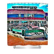 St Michaels Crab And Steak House Shower Curtain