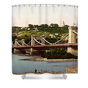 St Nicholas Bridge In Kiev - Ukraine - Ca 1900 Shower Curtain