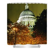 St Pauls Cathedral At Night With Trees Shower Curtain