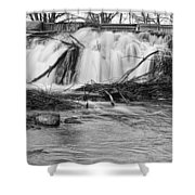 St Vrain River Waterfall Slow Flow Bw Shower Curtain