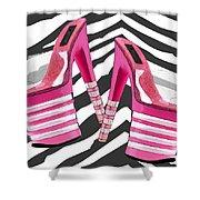 Stack 'em High Pink Platforms On Zebra Shower Curtain