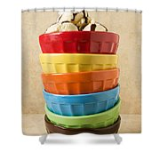 Stack Of Colored Bowls With Ice Cream On Top Shower Curtain
