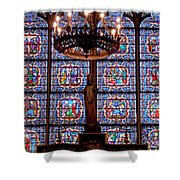 Stained Glass At Notre Dame Cathedral Shower Curtain