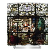 Stained Glass Family Giving Thanks Shower Curtain
