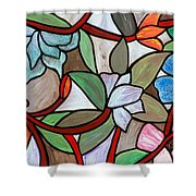 Stained Glass Wild  Flowers Shower Curtain
