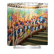Stairway Mural At Montmartre Metro Exit Shower Curtain