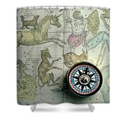 Star Map And Compass Shower Curtain