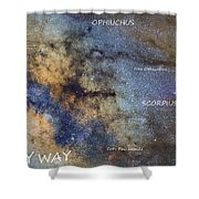 Star Map Version The Milky Way And Constellations Scorpius Sagittarius And The Star Antares Shower Curtain