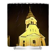 Star Trails Behind Vodice Church Shower Curtain