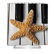 Starfish Piano Shower Curtain