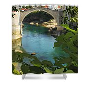Stari Most Or Old Town Bridge Over The Shower Curtain