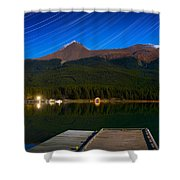Starry Night Of Mountains And Lake Shower Curtain