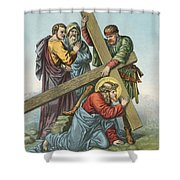 Station Vii Jesus Falls Under The Cross The Second Time Shower Curtain