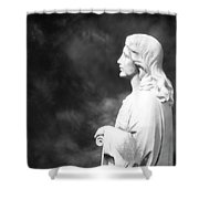 Statue 06 Black And White Shower Curtain