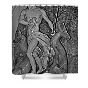 Statue 17 Black And White Shower Curtain