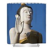 Statue Of Buddha At Wat That Luang Tai Shower Curtain