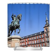 Statue Of King Philip IIi At Plaza Mayor Shower Curtain