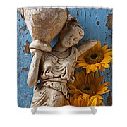 Statue Of Woman With Sunflowers Shower Curtain