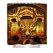 Statues Of Ram And Lakshman And Sita At The Iskcon Temple In Delhi Shower Curtain