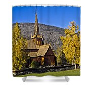 Stave Church In Lom Shower Curtain