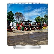 Steam Engines Lined Up Shower Curtain
