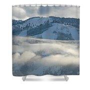 Steamboat Ski Area In Clouds Shower Curtain