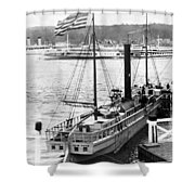 Steamer In The Hudson River - New York - 1909 Shower Curtain