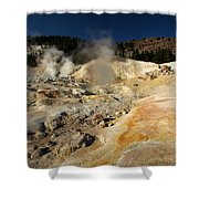 Steaming Organge Crust Shower Curtain