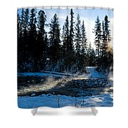 Steaming River In Winter Shower Curtain